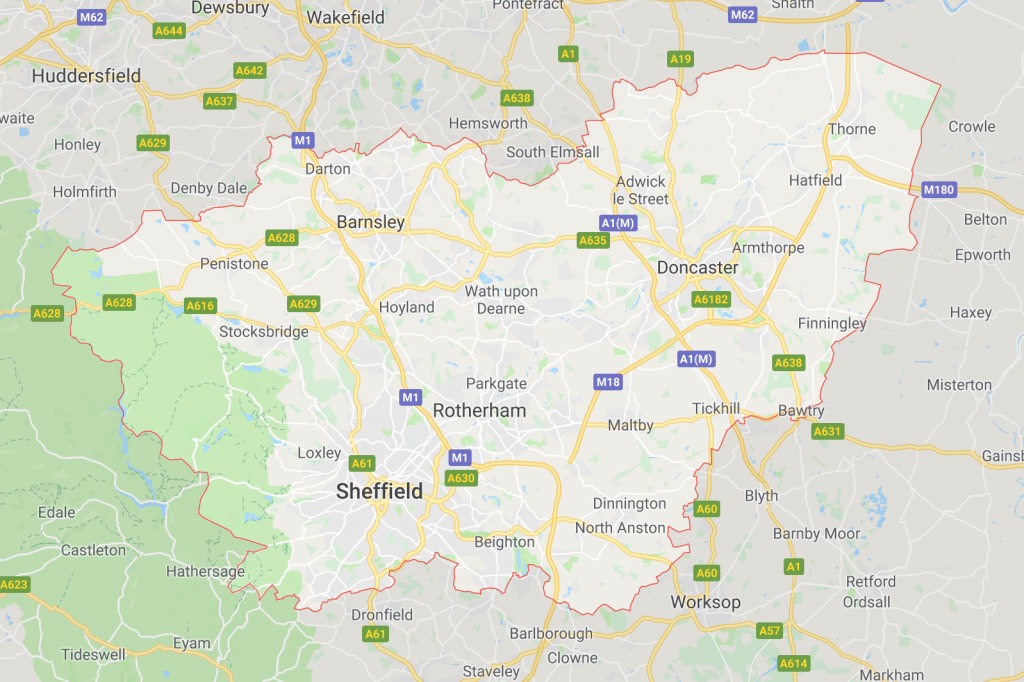 Map of South Yorkshire